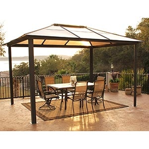 Hard top gazebo (at Costco!)... this would be nice on the deck for rainy days