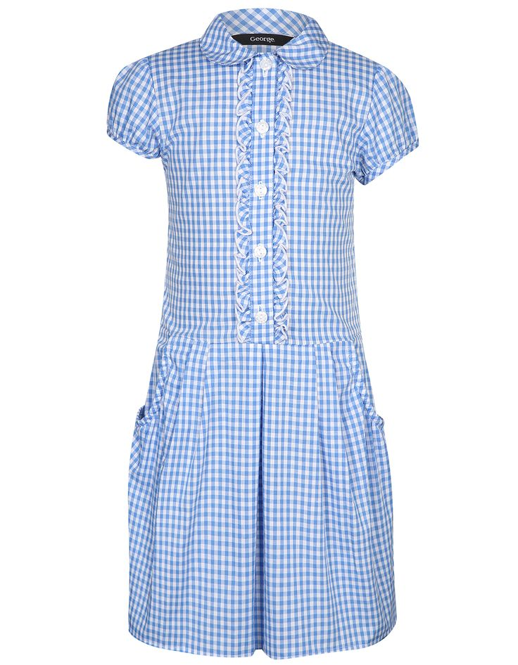 Girls School Ruffle Front Gingham Dress | School | George at ASDA