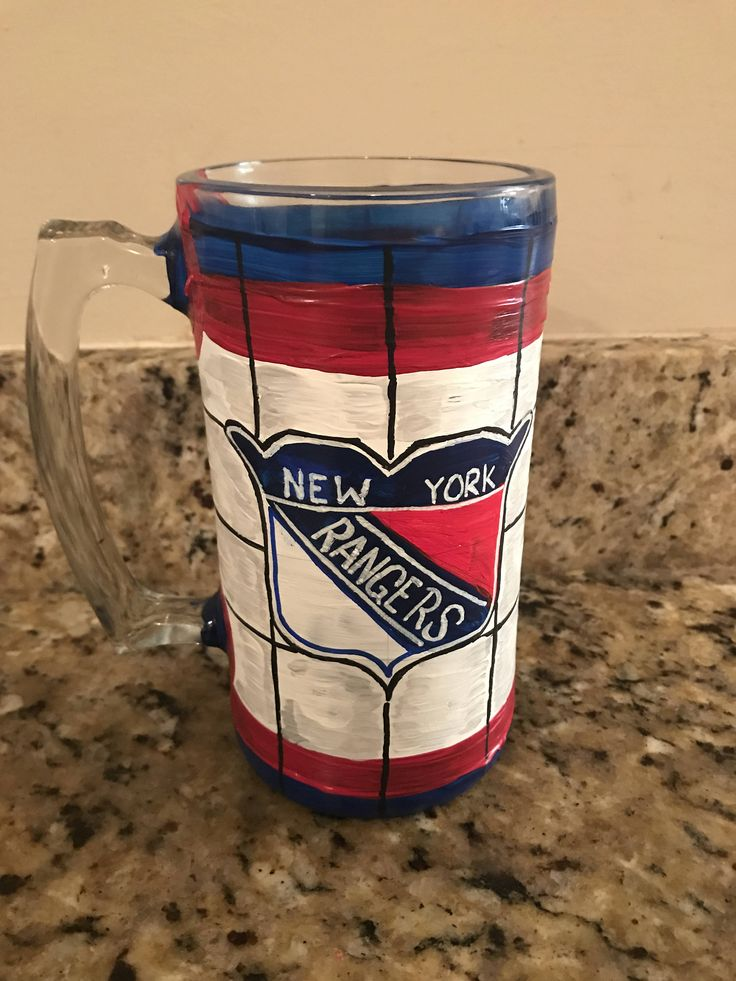 New York Rangers Hockey Painted Glass Mug by CourlinGroupDesigns on Etsy