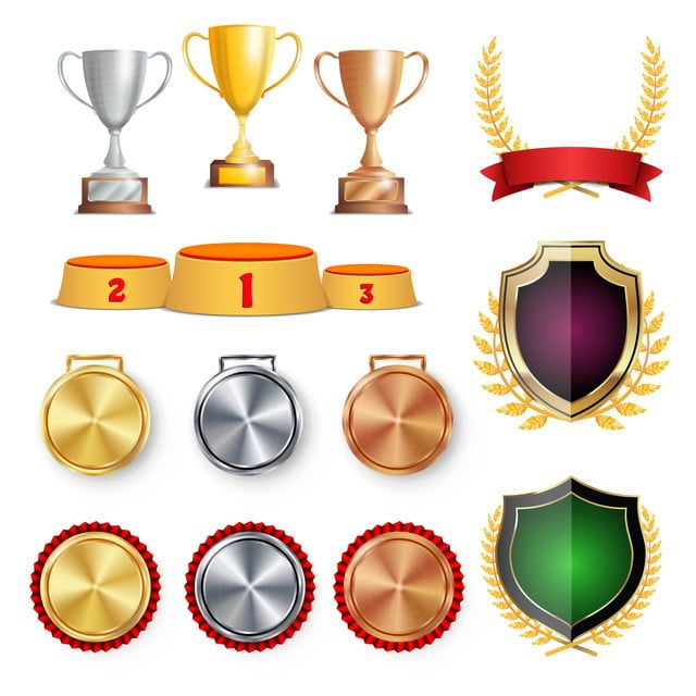 Ceremony Winner Honor Prize Trophy Awards Cups Golden Laurel Wreath With Red Ribbon And Gold Shield Medals Template Sports Placement Podium 1st 2nd 3rd Place Is Trophies Awards Red Ribbon