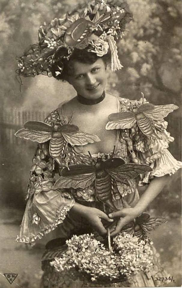 """Victorian fancy dress! (Is the message """"bee mine"""" or a pun on """"wasp waist""""?? LC)"""