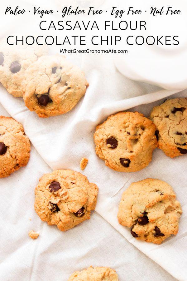 Nut-Free Cassava Flour Chocolate Chip Cookies (Paleo, Vegan, Gluten Free)