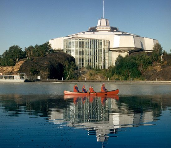 Sudbury, my home town. One of the many lakes within the city limits. View of Science North Complex.