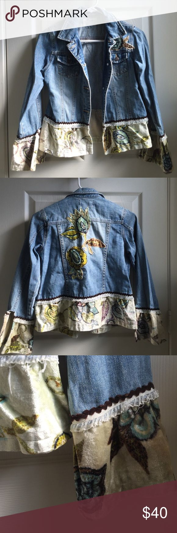 Bohemian Custom jean jacket XS This jean jacket will be a companion to all your gypsy soul's adventures. It's vintage details will make your wardrobe fun and complete. Custom Jackets & Coats Jean Jackets