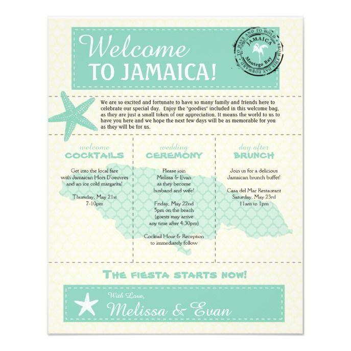 Mint Green Jamaica Wedding Welcome Letter Flyer Zazzle Com Welcome Letters Wedding Welcome Mexico Wedding
