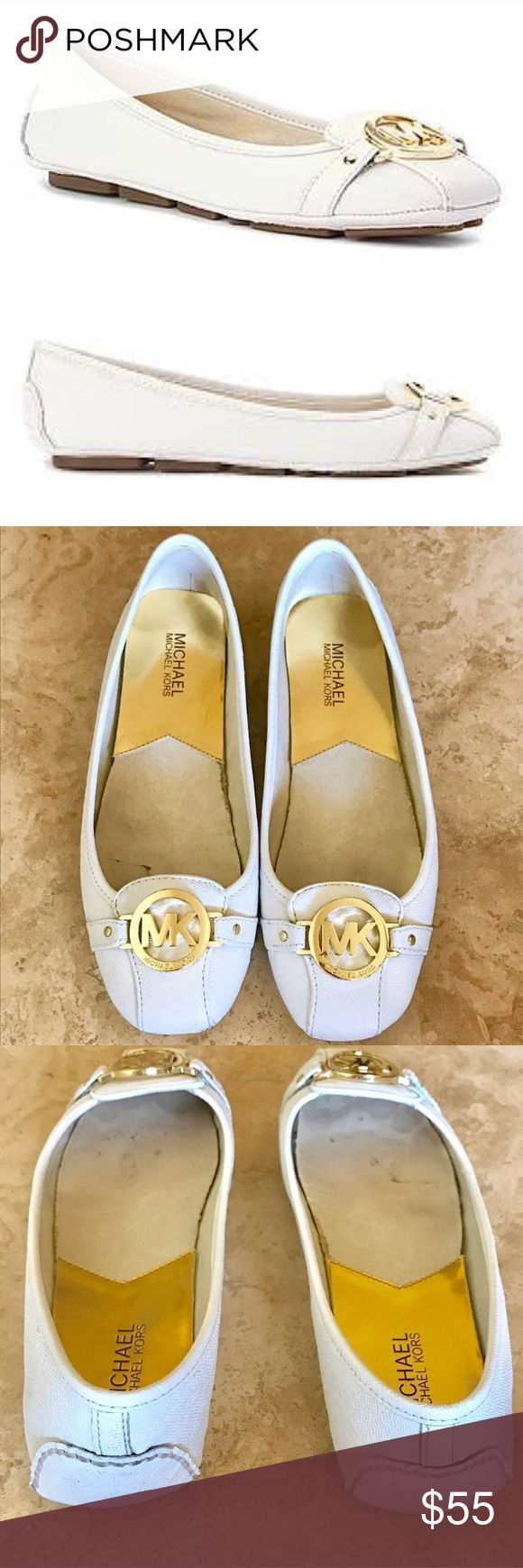 Michael Kors Fulton Flats Gold White Michael Kors Fulton Moc. Flat genuine Saffiano leather shoe. Color: Optic White (bright white) with gold metal front buckle. Size: 9. Comes with box. Worn. Defect: back of heels have dark stains from handling/wear. Insides show spots/stains from wear. Michael Kors Shoes Flats & Loafers