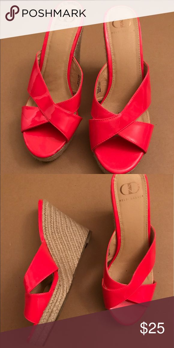 Neon pink espadrille wedges. Worn only once. Cute summer shoe! Kelsi Dagger Shoes Wedges