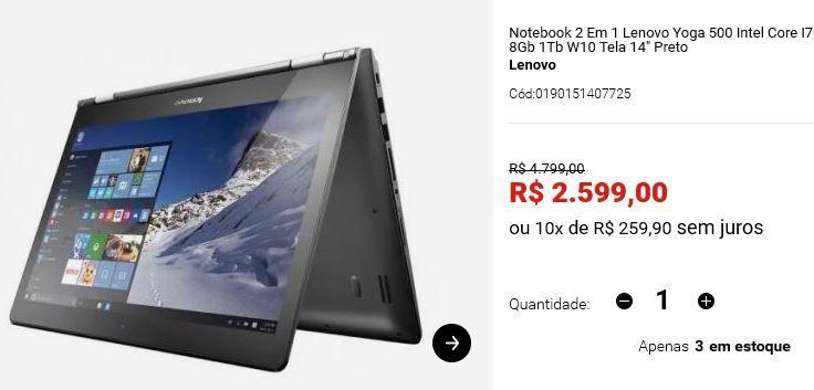 """Notebook 2 Em 1 Lenovo Yoga 500 Intel Core I7 8Gb 1Tb W10 Tela 14"""" Preto << R$ 259900 em 10 vezes >>"""
