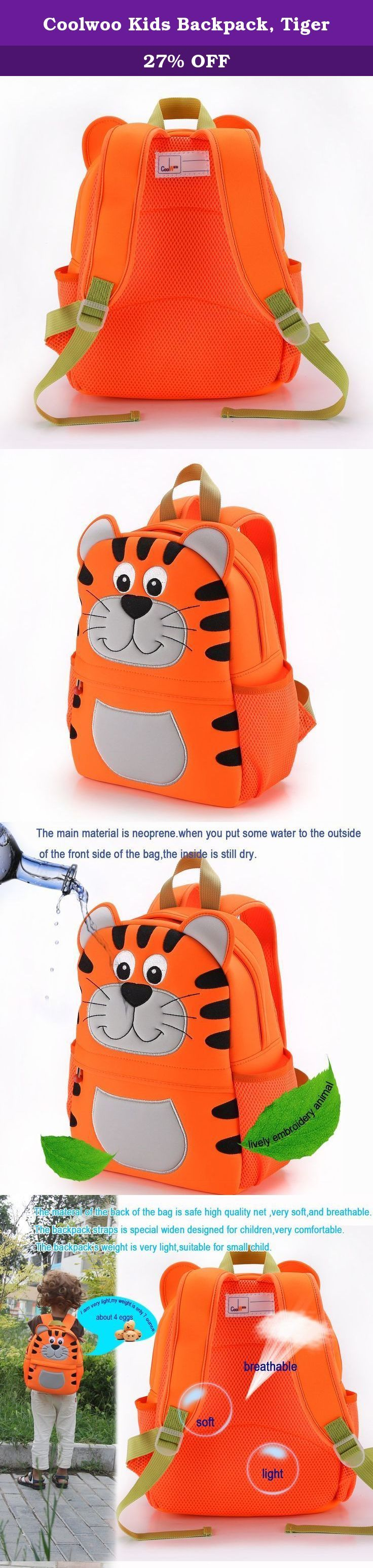 Coolwoo Kids Backpack, Tiger. *Made by neoprene as diving material. So if the outside gets wet, everything inside of the backpack stays dry. *It is very soft and lightweight. The super lightweight makes your kids easy to carry around. *There is a roomy main compartment with a smaller pocked on the inside for the backpack stores the kid's toys, snacks and other stuffs,and a small zippered pocket on the outside with an adjustable mesh bottle pocket. It is very useful in teaching kids young…