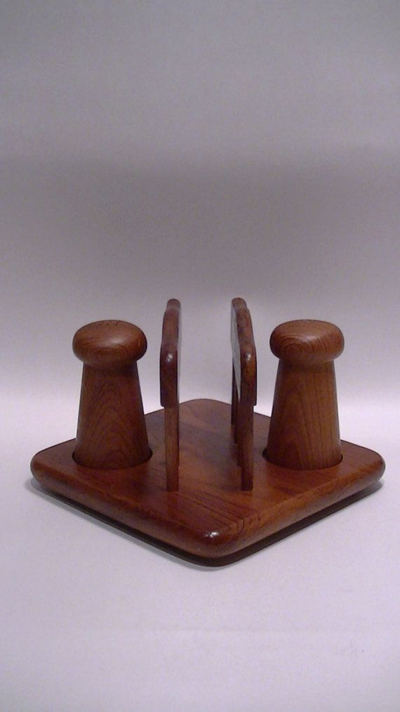 Wooden Napkin Holder With Salt And Pepper Caddy