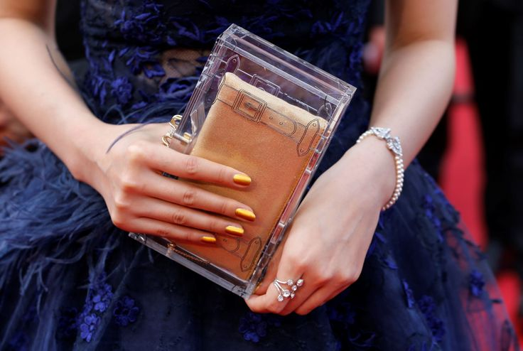 "Bag in box Handbag belonging to a guest in the film ""La tête haute"" in Cannes in 2015."