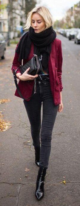 #winter #fashion /  Burgundy Blazer / Black Scarf / Black Skinny Jeans / Black Leather Booties