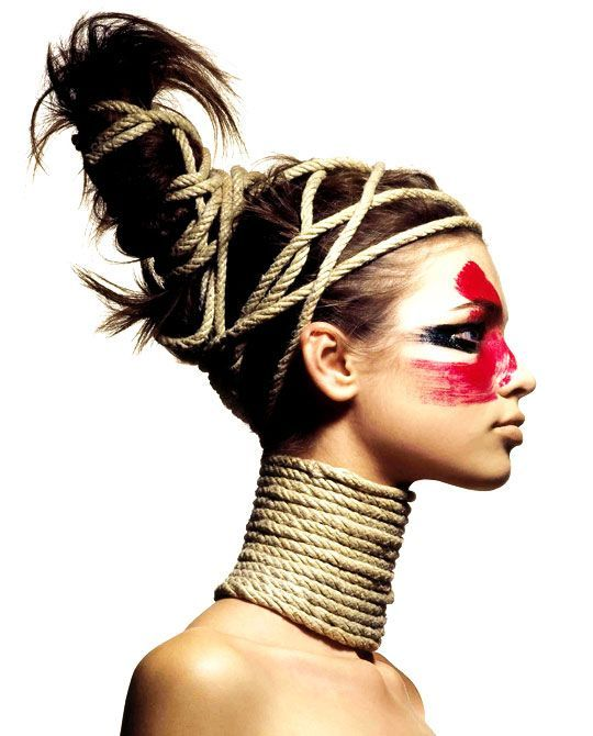 Post-apocalypse makeup / fashion / accessories / post-apocalyptic looks/ hairstyles / female / dystopian / face paint / war paint / women's / rope / style / details