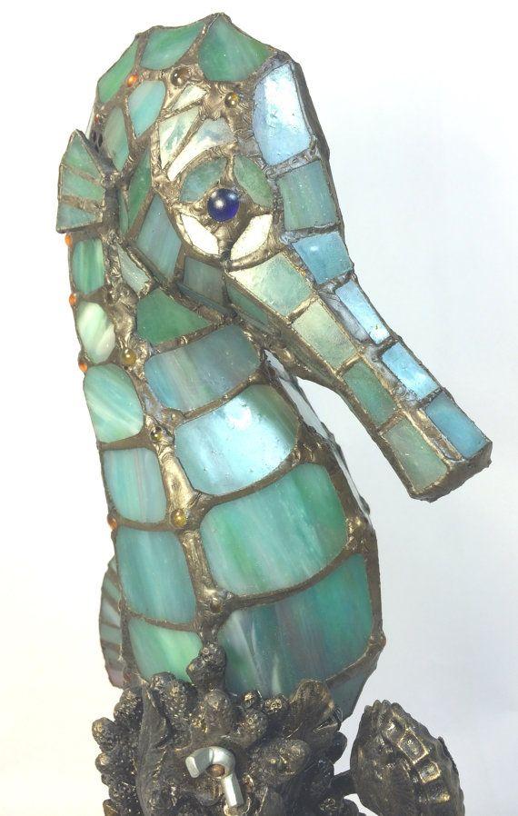 Bleu hippocampe Sea Horse vitrail Tiffany par BluffCityDesignCo