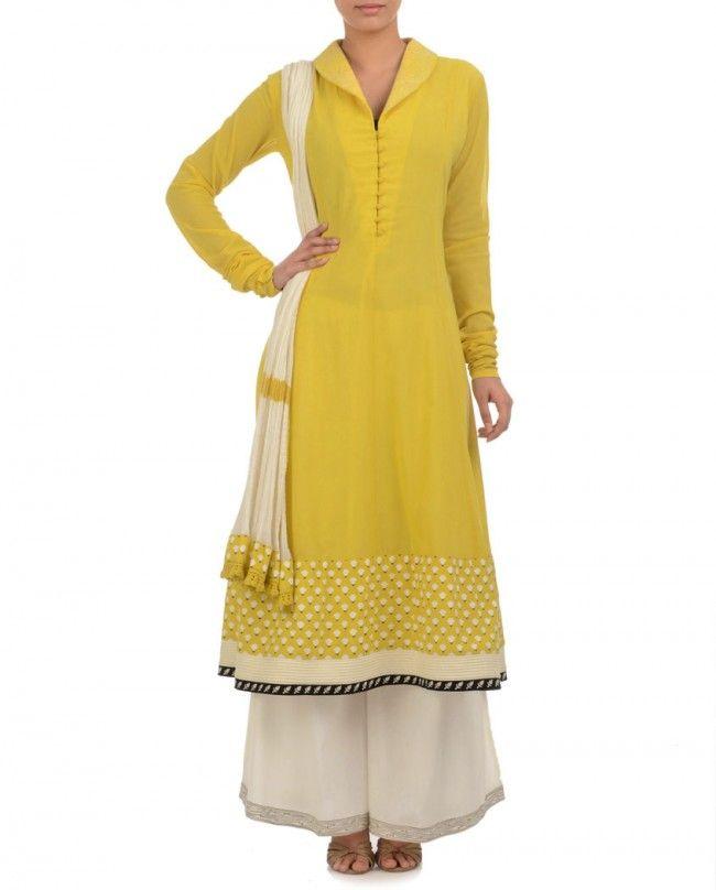 ANJU MODI Sunglow Yellow Anarkali Suit with Palazzo Pants