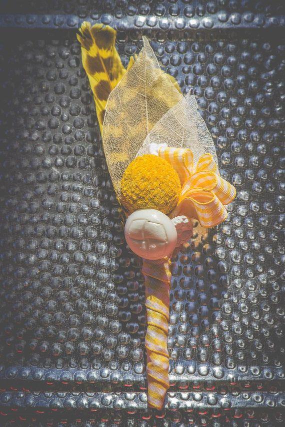 Men's Vintage Unique Yellow Check Buttonhole by MeadowMenagerie