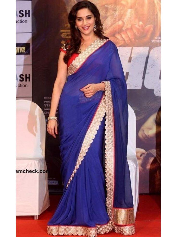 Madhuri Dixit Blue Bollywood Saree