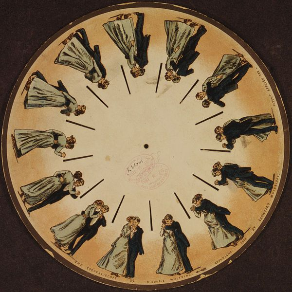 A phenakistoscope disc by Eadweard Muybridge (1893). The phenakistoscope was an early animation device that used the persistence of vision principle to create an illusion of motion.