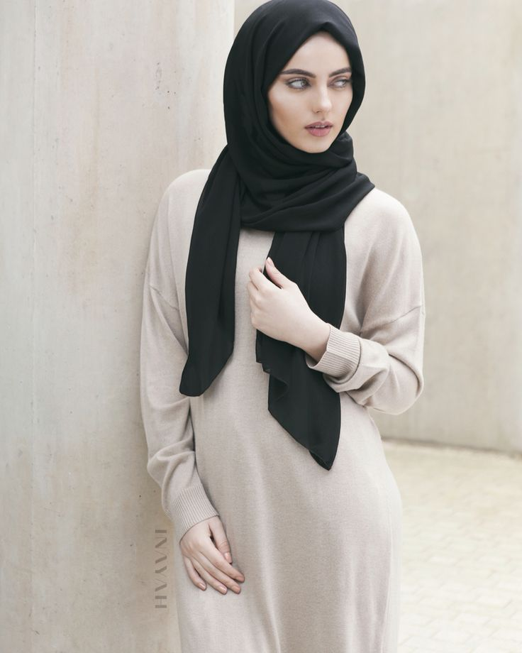 Woollen blends and neutral tones are the perfect go-to outfit for a daytime outfit this season. - Chalk High Neck Knitted #Jumper + Black Rayon #Hijab - www.inayah.co
