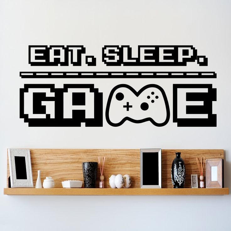 Find More Wall Stickers Information about Art design Eat Sleep Game Decal vinyl home decoration Gamer Room wall sticker Nintendo Game house decor mine…