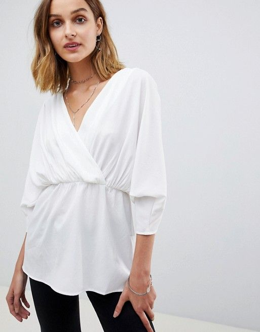 28b62ba2afbf3 ASOS DESIGN wrap top with ruched sleeves