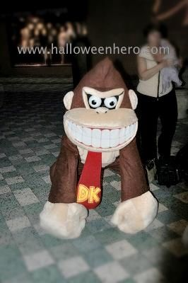 Fun with Donkey Kong: This a Donkey Kong costume I made.  The base of the head piece is paper mache. I covered the base with batting and then the brown fabric. I stuffed bits