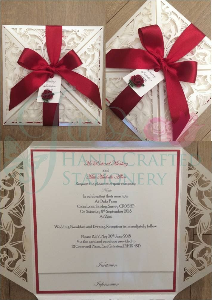 31 best laser cut invitations images on pinterest laser cut ribbon tied laser cut invitation in ivory red ribbon and finished with a mulberry rose stopboris Image collections