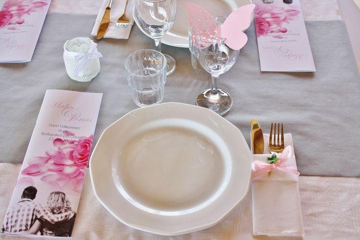 Wedding decoration pink grey