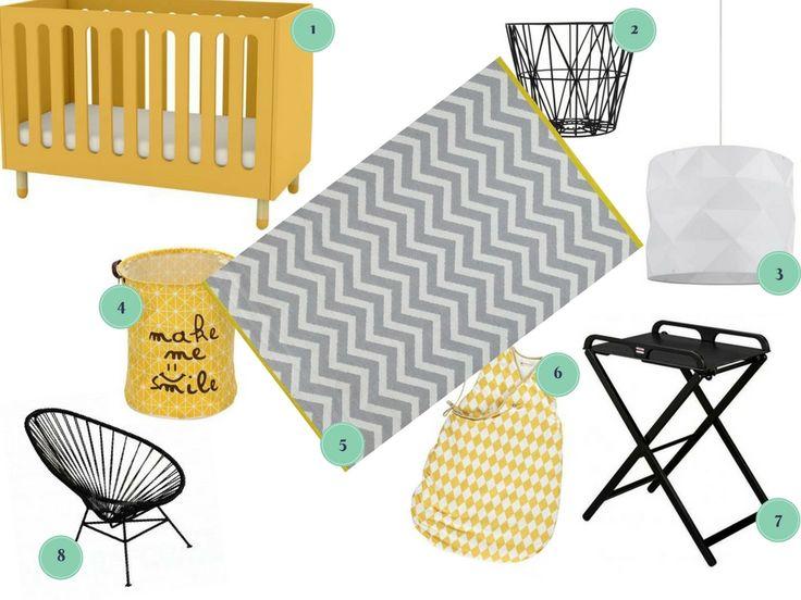 idées déco shopping France pour chambre de bébé graphique noire et jaune