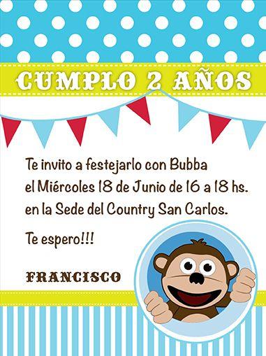 monkey, mono, bubba, descubriendo, banderin, dots, 2 birthday party invitation