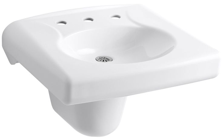 Brenham Wall-Mounted or Concealed Carrier Arm Mounted Commercial Bathroom Sink with Widespread Faucet Holes and Shroud