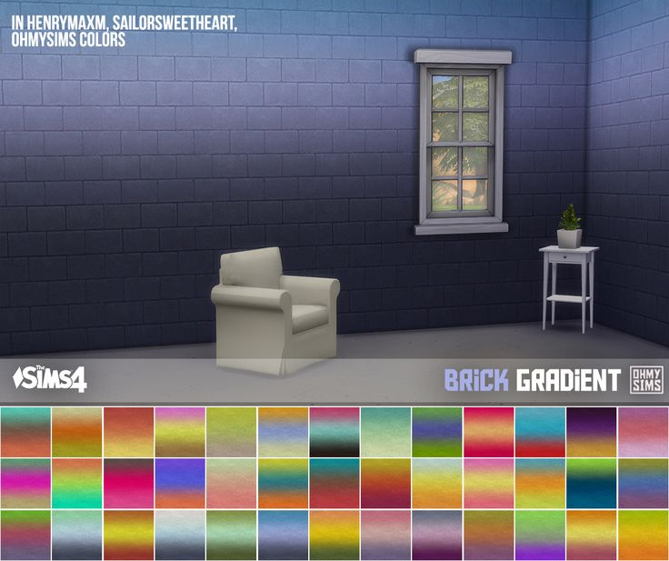 """ohmysims404:  """"3 sets of brick wallpaper  • Works with all wall heights  • § 4, can be found under Masonry  Credits:  • Original texture from The Sims 2 University Life  • 2t3 by Ritsuka, 3t4 by me  • Color Palette 1 by eversims (Ever So Lovely) and anna..."""