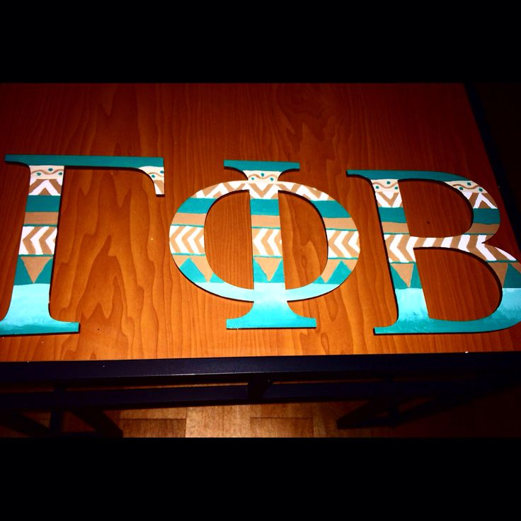 Painted Greek Wooden Letters