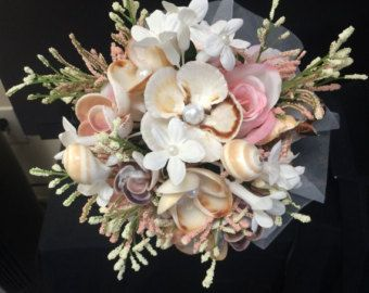 6 Seashell Bride Bouquet Flowers Beach Wedding Party Shell Floral Picks Arrangement Pics Inserts Nautical Tropical Seaside Coastal