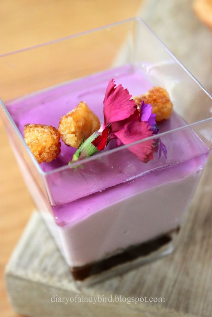 lavender verrine~'Verrine' comes from verre, the French word for glass. A Verrine is an impressive appetizer or dazzling dessert elegantly presented in a petit glass.