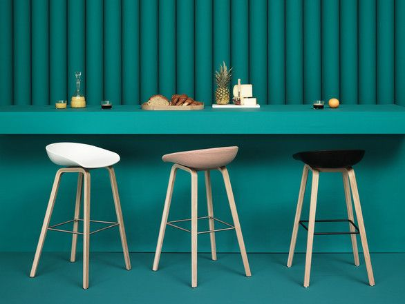 About a Stool - Wooden base upholstered, by #Hay