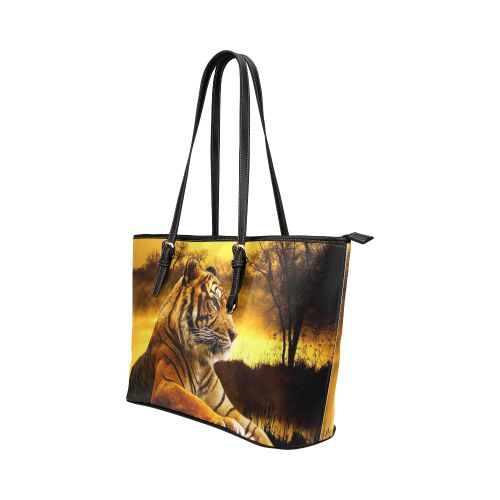 Tiger and Sunset Leather Tote Bag/Large. FREE Shipping. FREE Returns #bags #tigers