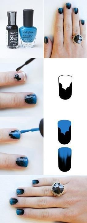 cool black and blue nails