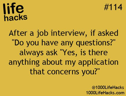 This is a GREAT question! Smart way to address anything before leaving your interview. - 1000 Life Hacks*