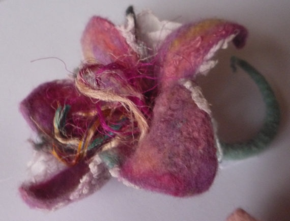 Valentine Day gift for her Felted brooch felted flower  by roFelt, $25.00