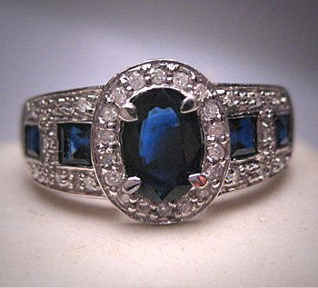 Estate Vintage Sapphire Diamond Wedding Band by AawsombleiJewelry