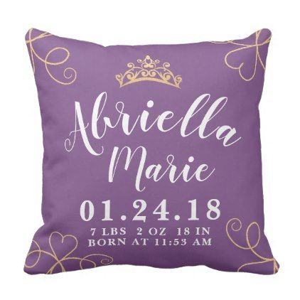 Baby Girl Princess Birth Stats Pillow - home gifts ideas decor special unique custom individual customized individualized