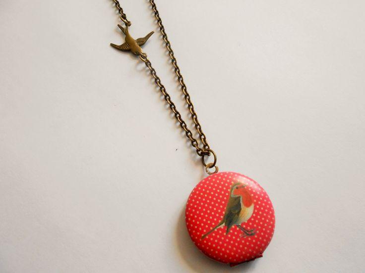 collier oiseau - collier porte photo - collier bird - collier pendentif porte photo - collier médaillon photo - breloque : Collier par esthete-bijoux