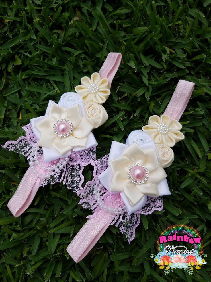 Pink,beige and white headband vintage style.