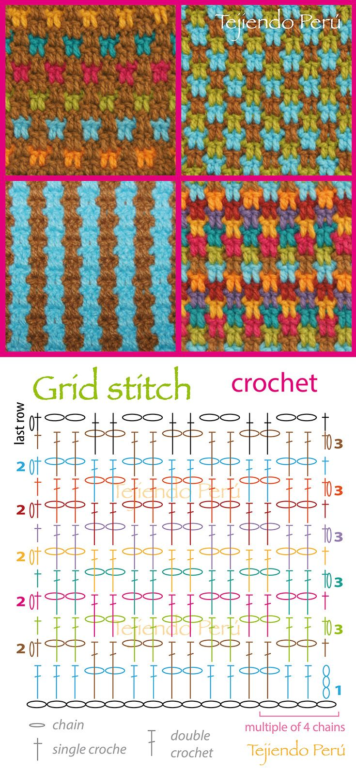 Crochet: grid stitch pattern (chart or diagram)! You can make a lot of combinations༺✿ƬⱤღ  http://www.pinterest.com/teretegui/✿༻