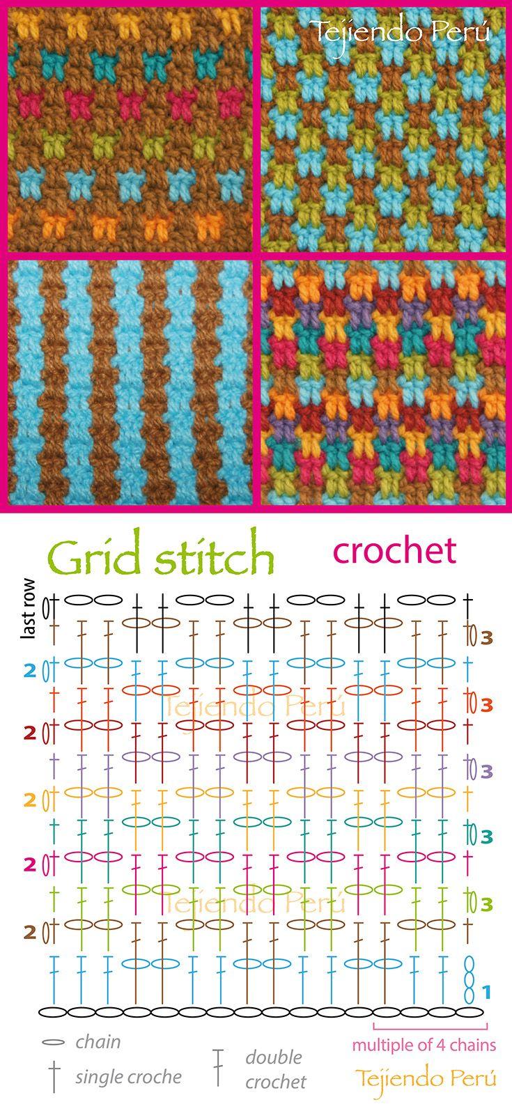 Crochet: grid stitch pattern (chart or diagram)! You can make a lot of combinations༺✿ƬⱤღ http://www.pinterest.com/teretegui/✿༻