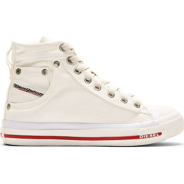 Diesel White Denim Exposure W Sneaker (155 BRL) ❤ liked on Polyvore featuring shoes, sneakers, runners, white sneakers, denim shoes, diesel sneakers, hi tops and white hi top sneakers