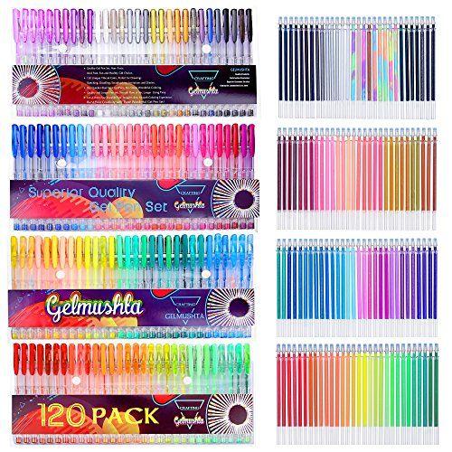 Gelmushta Gelstifte 240 (120 Gelstifte und 120 Refille) Glitzer Set Gel-Tinte Refille Gelschreiber Tinten