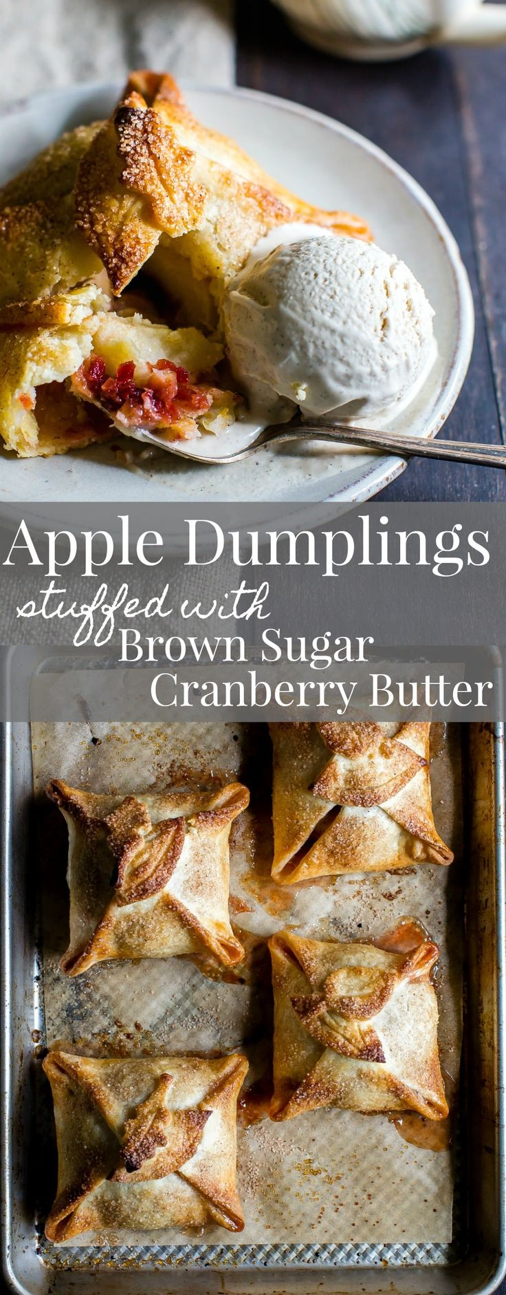 Share Apple Dumplings Stuffed With Brown Sugar Cranberry Butter warm right out of the oven with vanilla bean ice cream and/or your favorite caramel sauce.