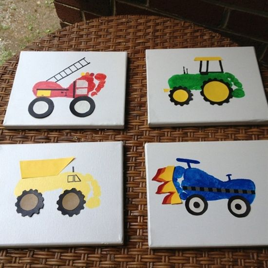 Foot print trucks. Need to do this with my little boy!!